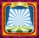 Circus Background. Illustration of a square holidays circus frame background poster with banners, blue curtains and gold ornaments for arts events and Royalty Free Stock Photography