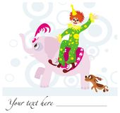 Circus background. Funny vactor background with clown, dog and elephant Stock Photo