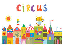 Circus background with funny builidngs, animals and sun Stock Photo