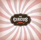 Circus Background With Grunge Texture. Illustration of a retro and vintage circus background, with banners and spiral sunbeams Stock Photos