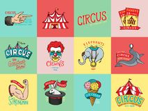 Circus badge. Vintage Carnival logos or emblems. Label for the festival banner and show. Harlequin with animals. retro. Clown and elephant, ice cream, magic Stock Photography