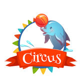 Circus banner with clever dolphin. Vector Stock Photos