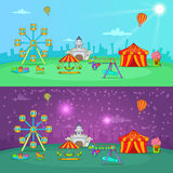 Circus banner set horizontal, cartoon style. Circus banner set horizontal day and night in cartoon style for any design vector illustration Royalty Free Stock Images
