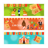 Circus banners with fun flat elements Stock Images