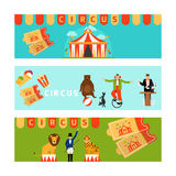 Circus banners in modern flat style Royalty Free Stock Images