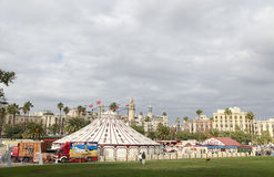 Circus in Barcelona near the old port. January 2017 Royalty Free Stock Photo