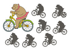 Circus bear. On bicycle. Find the right shadow image. Educational games for kids.Vector stock illustration Royalty Free Stock Photo