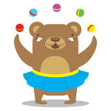 Circus bear in skirt juggling balls. Circus concept. Flat cartoo. N  illustration Royalty Free Stock Photos