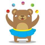 Circus bear in skirt juggling balls. Circus concept. Flat cartoo Royalty Free Stock Photos