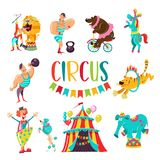Circus clipart. Circus artists and trained animals. vector illustration