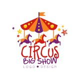 Circus big show logo design, carnival, festive, show label, badge, design element with carousel can be used for flyear royalty free illustration
