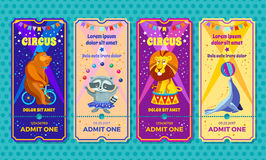 Circus big show with trained animals entrance ticket template. Invitation coupon with bear on a bike, raccoon-juggler vector illustration
