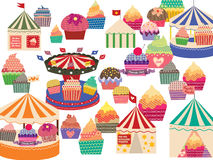 Circus big tops and cupcakes. Different sets of circus big tops and cupcakes. Holiday and season feel Stock Image