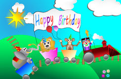 Circus birthday party card design for kids vector Stock Images