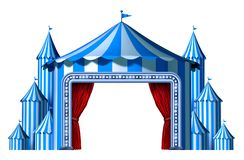 Circus Blue Tent Stage. With blank space as a group of big top carnival tents with a red curtain opening entrance as a fun entertainment icon for a theatrical stock illustration