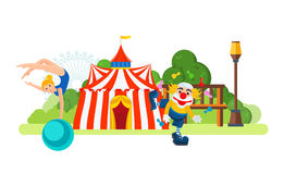 Circus building located in park , main entrance to the room. Royalty Free Stock Photos