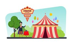 Circus building, tent, shapito. Invitation to event, magician shows tricks. stock illustration