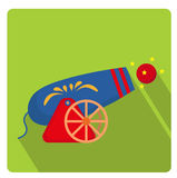 Circus Cannon icon flat style with long shadows,  on white background. Vector illustration. Circus Cannon icon flat style with long shadows,  on white Stock Image