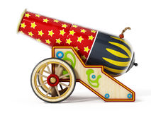 Circus cannon isolated on white background. 3D illustration.  Royalty Free Stock Photos