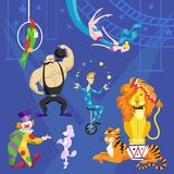 Circus card with acrobat on bicycle, clown, lion and tiger vector set. Circus card with acrobat on bicycle, clown, lion, parrot and tiger vector set royalty free illustration