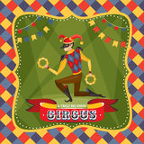 Circus card with the Harlequin Stock Image