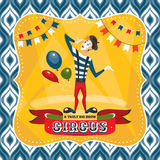 Circus card with mime artist Stock Photography