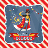 Circus card with the mysterious magician Royalty Free Stock Image