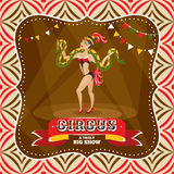 Circus card with snake charmer Royalty Free Stock Photo