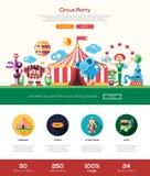 Circus, Carnaval-de kopbalbanner van de partijwebsite met webdesignelementen vector illustratie