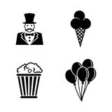 Circus carnival amusement park. Simple Related Vector Icons Royalty Free Stock Images