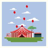 Circus Carnival design. With tent and red balloons in the air over blue background, colorful design vector illustration Stock Photo