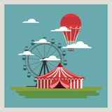 Circus Carnival design. With tent, wheel and hot air balloon over blue background, colorful design vector illustration Stock Photo