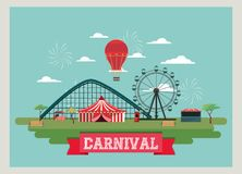 Circus Carnival design. With tent and wheel and roller coaster over blue backgroun Stock Images
