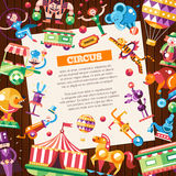 Circus, carnival icons and infographic elements postcard Stock Image