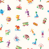 Circus, carnival icons and infographic elements seamless pattern Royalty Free Stock Photo