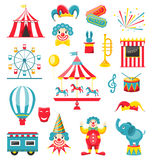 Circus and Carnival Icons Isolated on White Background Stock Photos
