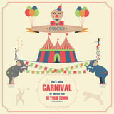 Circus and Carnival Invitation Card Template. Stock Photos