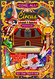 Circus Carnival Invite Theme Park Poster Tent Vector Illustration. Circus carnival tent marquee amusement family theme park poster acrobat artist show invite set stock illustration