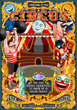 Circus Carnival Park Poster Tent Invite Theme Vector Illustration. Circus carnival tent marquee amusement family theme park poster acrobat artist show invite set royalty free illustration
