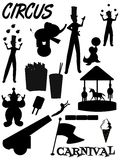 Circus and carnival silhouettes. Elements of circus and carnivals in silhouette vector illustration