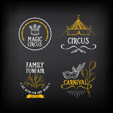 Circus and carnival vintage design, label elements. Vector with vector illustration