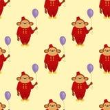Circus cartoon monkey character animal wild zoo party balloon ape chimpanzee vector illustration seamless pattern Stock Photo