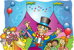 The circus. A cartoon vector illustration of a circus tent with the ringmaster, a clown and some children with balloons Royalty Free Stock Photo