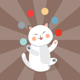 Circus cat vector cheerful illustration for kids with little domestic cartoon animals playing mammal Royalty Free Stock Photos