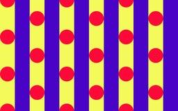 Circus Circles 3. Red Polka dot pattern on royal blue and yellow stripes Royalty Free Stock Photos