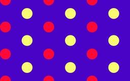 Circus Circles. Red & Yellow Polka dot pattern on royal blue Royalty Free Stock Images