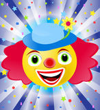 Circus clown. Laughing circus clown emoticon over colorful background with confetti Royalty Free Stock Photos