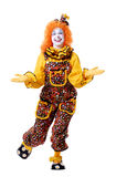 Circus Clown. Dancing female clown with outstretched hands Royalty Free Stock Photo