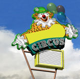 Circus Clown. Neon Sign Circus Clown with balloons Royalty Free Stock Photography