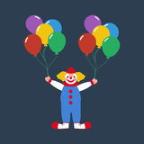Circus clown with balloons. On the blue background. Vector illustration Stock Photography